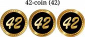 Set Of Physical Golden Coin 42-coin (42), Digital Cryptocurrency. 42-coin (42) Icon Set. Vector Illu poster