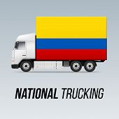 Symbol Of National Delivery Truck With Flag Of Colombia. National Trucking Icon And Colombian Flag poster