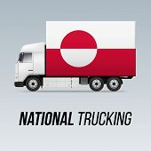 Symbol Of National Delivery Truck With Flag Of Greenland. National Trucking Icon And Flag Design poster