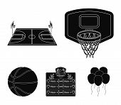 Shield With A Basket, A Playground, A Table Of Commands, A Basketball Ball. Basketball Set Collectio poster