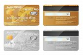 Realistic Detailed Credit Cards Set With Colorful Abstract Design Background. Golden Credit Card. Si poster