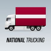 Symbol Of National Delivery Truck With Flag Of Latvia. National Trucking Icon And Latvian Flag poster