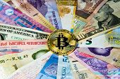 Cryptocurrency Conceptual Image Of Bitcoin Internationalism And Safety. Security Currency Bitcoin Ph poster