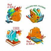Back To School Icons Set Of School Bag, Globe Or Microscope And Chemistry Book Or Chalkboard. Vector poster