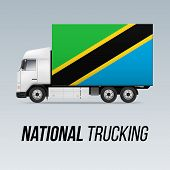 Symbol Of National Delivery Truck With Flag Of Tanzania. National Trucking Icon And Tanzanian Flag poster