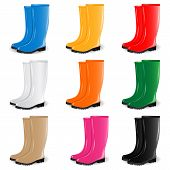 Colored rubber boots vector set