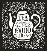 Vector Illustration Tea Time With Lettering In Black And White. Doodle Teapot With Hand Written Insc poster