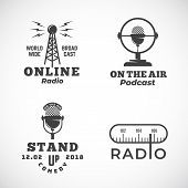 Online Radio And Microphone Abstract Vector Emblems Set. Broadcast Tower, Podcast Or Stand Up Comedy poster