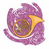 French Horn. Wind Musical Instrument. Jazz Instruments, On An Abstract Red Background. With Addition poster