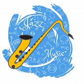 Saxophone. Wind Musical Instrument. Jazz Instruments, On Abstract Blue Background. With Additional P poster