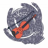 Violin Stringed Musical Instrument Jazz Instruments, On An Abstract Blue-gray Background. With Addit poster