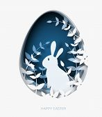3d Abstract Paper Cut Illustration Of Colorful Paper Art Easter Rabbit, Grass, Flowers And Blue Egg  poster