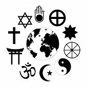 World Religions Planet Earth Flower World Religions - Flower Icon Made Of Religious Symbols And Plan poster