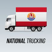 Symbol Of National Delivery Truck With Flag Of French Polynesia. National Trucking Icon And Flag Des poster