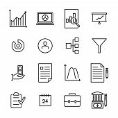 Modern Outline Style Freelance Icons Collection. Premium Quality Symbols And Sign Web Logo Collectio poster