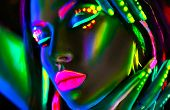Disco dancer in neon light. Fashion model woman in neon light, portrait of beautiful model girl with poster