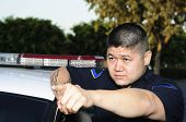 picture of lightbar  - a police officer standing next to his car as he points - JPG