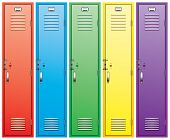 picture of open door  - vector set of colorful school lockers isolated on white - JPG