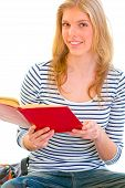 Happy Teen Girl Reading Book