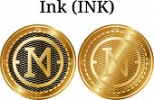 Set Of Physical Golden Coin Ink (ink), Digital Cryptocurrency. Ink (ink) Icon Set. Vector Illustrati poster