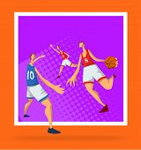 Basketball Players In Abstract Flat Style. Men Playing With A Basketball Ball. Design Template For S poster