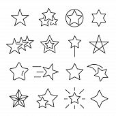 Stars Line Icon Set. Decorative Star-shaped Objects, Holiday Season Symbol, Special Event Design. Ve poster