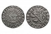 medieval coin Prague groschen-700 years old coin