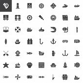 Nautical Vector Icons Set, Modern Solid Symbol Collection, Filled Style Pictogram Pack. Signs, Logo  poster