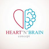 Heart And Brain Concept, Conflict Between Emotions And Rational Thinking, Teamwork And Balance Betwe poster