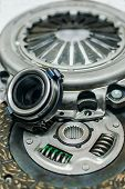 Set Of Elements Of The Car Clutch System At Shallow Depth Of Field poster