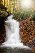 autumn waterfall in Czech republic