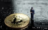 Block Chain And Bitcoin Safety Or Security Trust Concept, Miniature Figure Security Guard Standing W poster