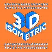 Isometric Alphabet Font. 3d Effect Letters, Numbers And Symbols. Stock Vector Typeset For Any Typogr poster