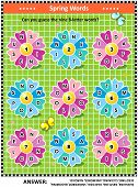 Spring Or Summer Themed Word Puzzle (english Language) With Words Written On Petals Around The Flowe poster
