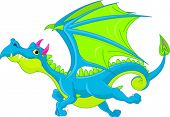 Illustration of Cute Cartoon  dragon flaying