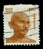 INDIA-CIRCA 1991: A stamp printed in India shows image of Mohandas Karamchand Gandhi was the pre-emi