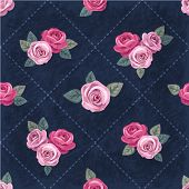 Seamless Vintage Romantic Pattern With Pink Roses On Dark Blue Shabby Background. Retro Style. Shabb poster