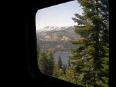 picture of amtrak  - Donner Lake in the Sierra Nevada Mountains from the window of California Zephyr - JPG