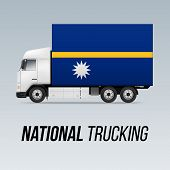 Symbol Of National Delivery Truck With Flag Of Nauru. National Trucking Icon And Nauruan Flag poster