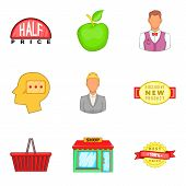 Shopping Opportunity Icons Set. Cartoon Set Of 9 Shopping Opportunity Vector Icons For Web Isolated  poster