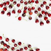 Fresh Red Cherries Lay On White Isolated Background With Copy Space For Text. Background Of Cherries poster