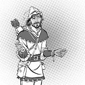 Постер, плакат: Laughing Robin Hood Wondering Robin Hood Robin Hood Robin Hood In A Hat With Feather Young Soldi