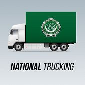 Symbol Of National Delivery Truck With Flag Of Arab League. National Trucking Icon And Flag Design poster