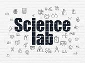 Science Concept: Painted Black Text Science Lab On White Brick Wall Background With  Hand Drawn Scie poster