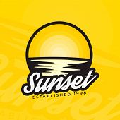 Sunset Logotype  Concept In Modern Style. Sunset Colorful Badge. Colourful Label Of Sunset And Refle poster