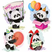Set Of Cute Baby Panda Bears With Happy Birthday Banner, With Bow And Greeting Card, With Surprise I poster