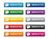 stock photo of newsletter  - Set of newsletter buttons in various color - JPG