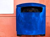 Rusty Blue Mailbox On The Flat Peachy Wall poster