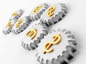 Metal ruedas de engranaje con símbolos de dólar y euro