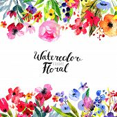 Watercolor Floral Background. Hand Painted Border Of Flowers. Good For Invitations And Greeting Card poster
